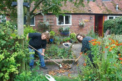 Threshold members working in their community garden